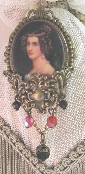 German Cameo Victorian Woman-cameo red