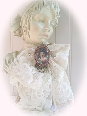 Porcelain Victorian Girl-cameo pink girl