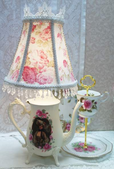 Teapot Lamp I-Teapot Lamp, Rose Shade Lamp