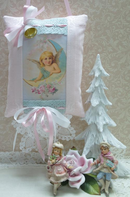 09 Angel on Moon Hanging Pillow-angel moon pillow, pink angel pillow, aqua pillow, hanging pillow