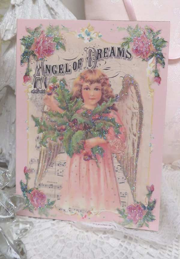 Angel Of Dreams-pink angel, angel music box,angel w holly