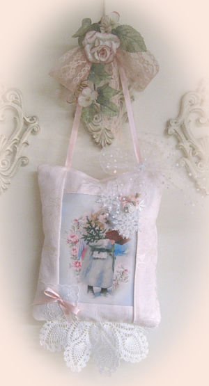Angel with Song Book-angel with song book, pink pillow, pink hanger pillow