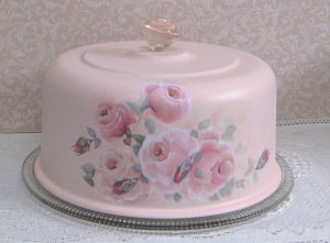 A7 Pink and White Rose Cake Cover-Hand painted cake cover