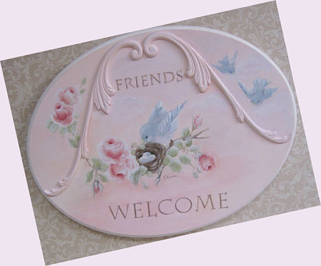 Friends  Welcome Sign-Blue bird Plaque, Welcome sign