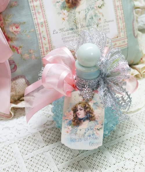 French Lady Aqua Perfume Bottle-hobnail blue, perfume bottle, pink ribbon perfume bottle