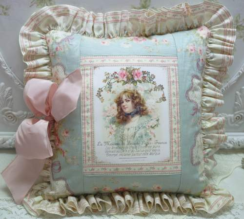 French Lady Aqua Pillow-aqua pillow, pink rose pillow, French lady pillow, French text pillow