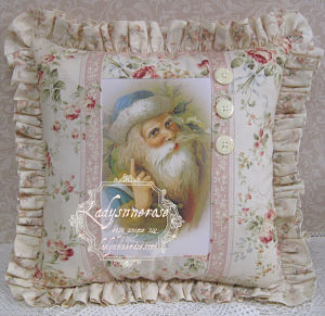 02 Blue Santa Pillow-Blue Santa Pillow, Santa pillow, Winter pillow,