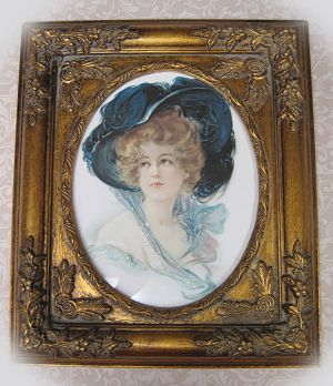 Victorian Lady 3-Blue Victorian Lady Victorian Blue Framed Victorian lady