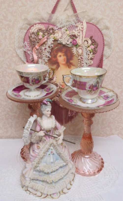 Depression Glass Candle Cup II-candle stick, candle cup, pink candle cup, couple cup and saucer