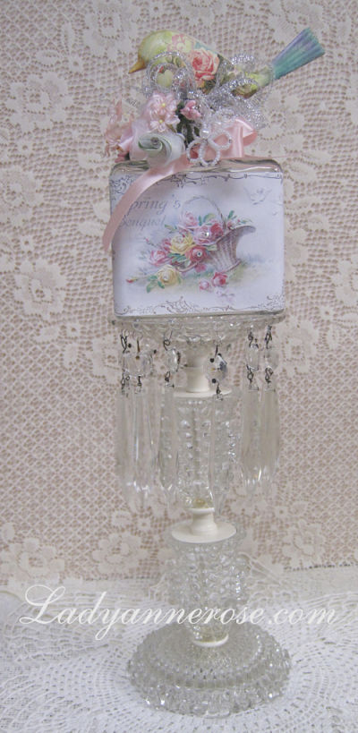 Spring's Bouquet Bird Bottle-bird bottle, Victorian bottle,rhinestone bottle