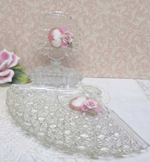 Cameo Vanity Tray and Bottle-perfume bottle, vanity tray, cut glass bottle, cut glass tray, cameo tray, cameo bottle