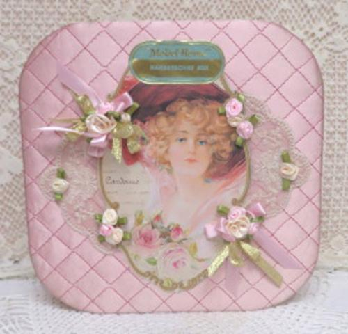 Model Home Handkerchief Box-handkerchief box. pink box. decorated box