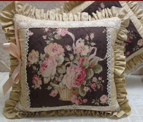 Brown Rose Basket Pillow !!-brown rose pillow, rose pillow, brown pillow, brown ruffled pillow