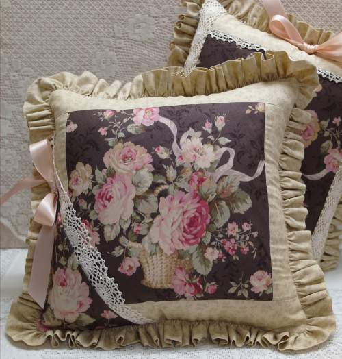 Brown Rose Basket Pillow I-rose pillow, brown pillow, brown ruffled pillow, heavy lace pillow