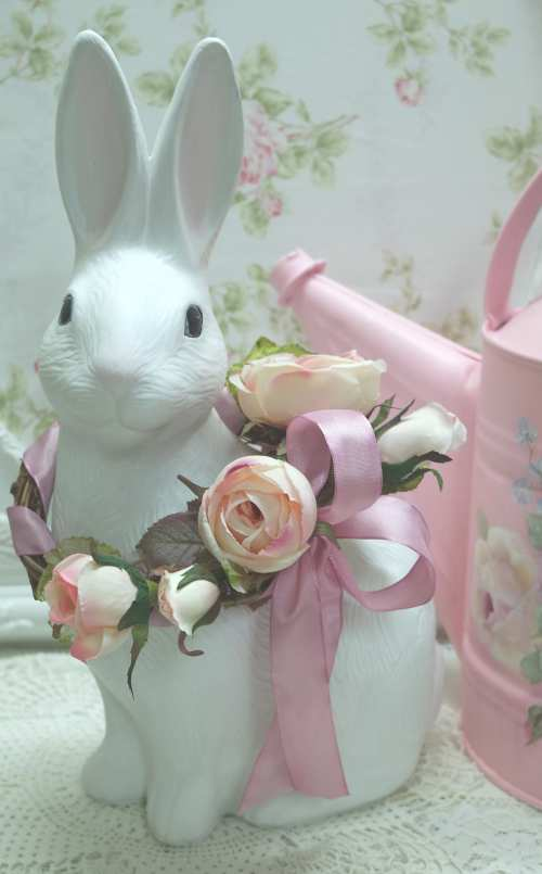 Garden Rabbit I-bisque garden rabbit, white garden rabbit, pink rose rabbit