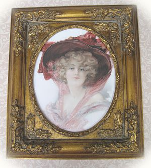 Victorian Lady 1-Victorian Lady in Burgundy Framed Victorian Victorian Lady
