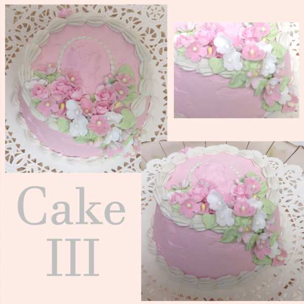 Pink Faux Cake III-faux cake, faux pink cake, pink faux cake, rose faux cake, cameo faux cake