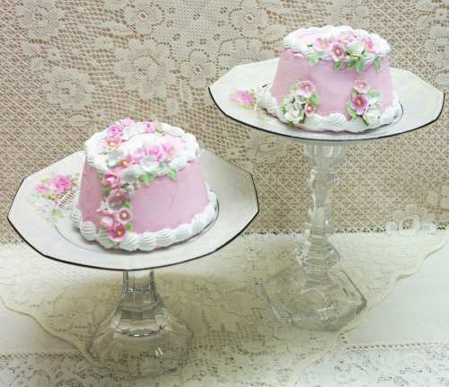 Pink Round Cameo Cake II-pink faux cake, cameo top faux cake,