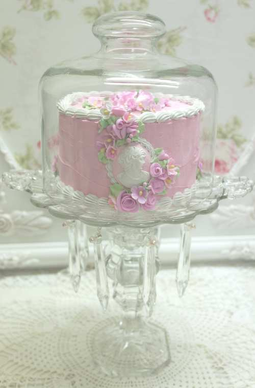 Prism Glass Plate Pink Cake II-pink cameo cake, prism cake plate, pink cake, stem glass cake plate