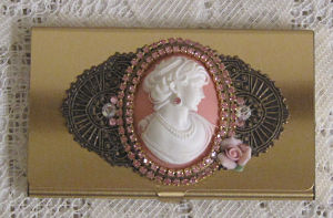 Pink Rose Cameo Card Case-pink cameo calling card case, credit card case, pink cameo business card holder, card holder
