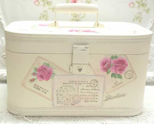 Post Cards and Roses Train Case-painted train case, rose train case, postcard train case,
