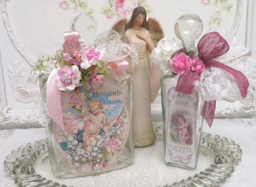Heavenly Lotion Bottle-lotion bottle, glass bottle, crystal top bottle, rose bottle