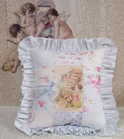 Patch Work Pillow-Cherub Pillow, Valentine's Day Pillow, patch work pillow, heart pillow, ticking pillow