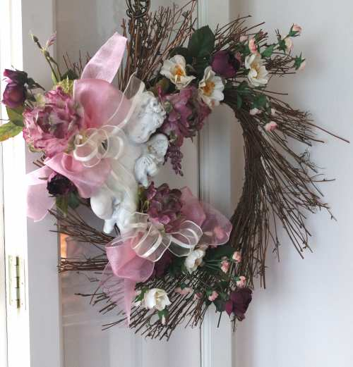 Cherub Rose Wreath-rose wreath, cherub wreath, burgundy rose wreath