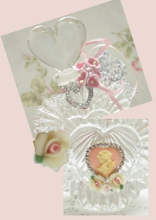 Crystal Glass Heart Perfume Bottle-heart bottle, cameo bottle, heart cameo bottle, crystal bottle, perfume bottle