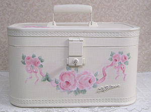 Pink Roses/ Ribbon Train Case-ribbon rose train case, hand painted roses, painted pink roses, vintage train case, cottage white train case, pink rose painted train case