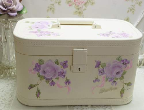 Lavender Rose Train Case-rose train case, violet train case, lavender rose train case, violet rose train case