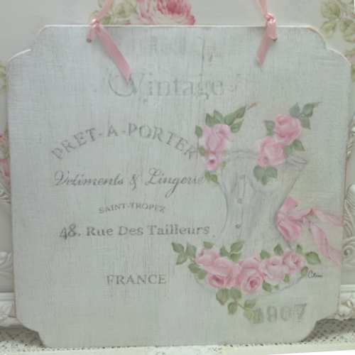 Rose Bustier Sign-french sign, bustier sign, rose painted sign