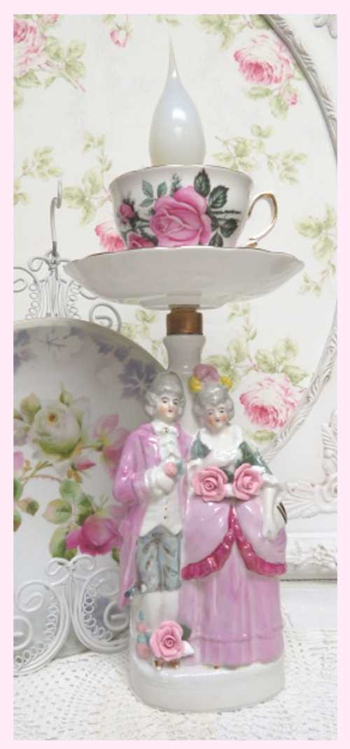 French Couple Lamp II-French Lamps, candle cup lamp, vintage lamp