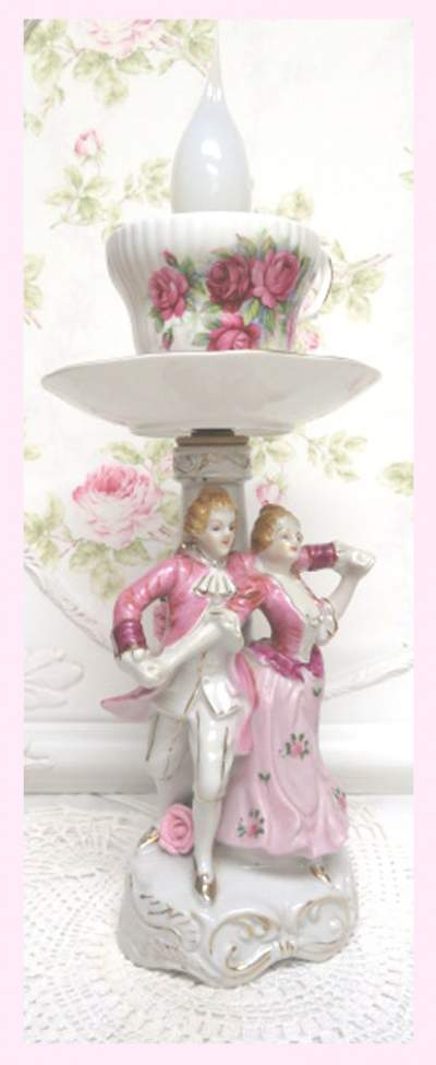 French Couple Lamp III-French couple lamp, dancing couple lamp, pink lamp, cup lamp