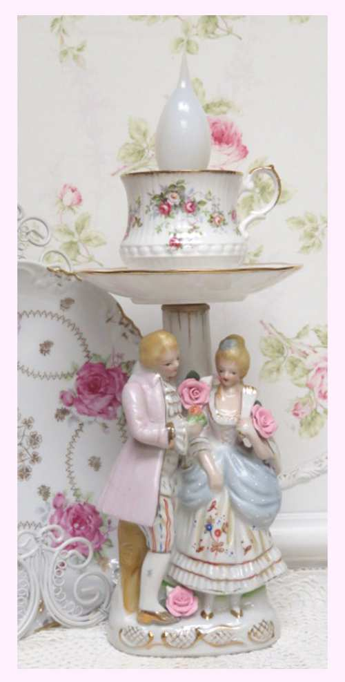 French Couple Lamp IV-couple lamp, cup lamp, French couple lamp,