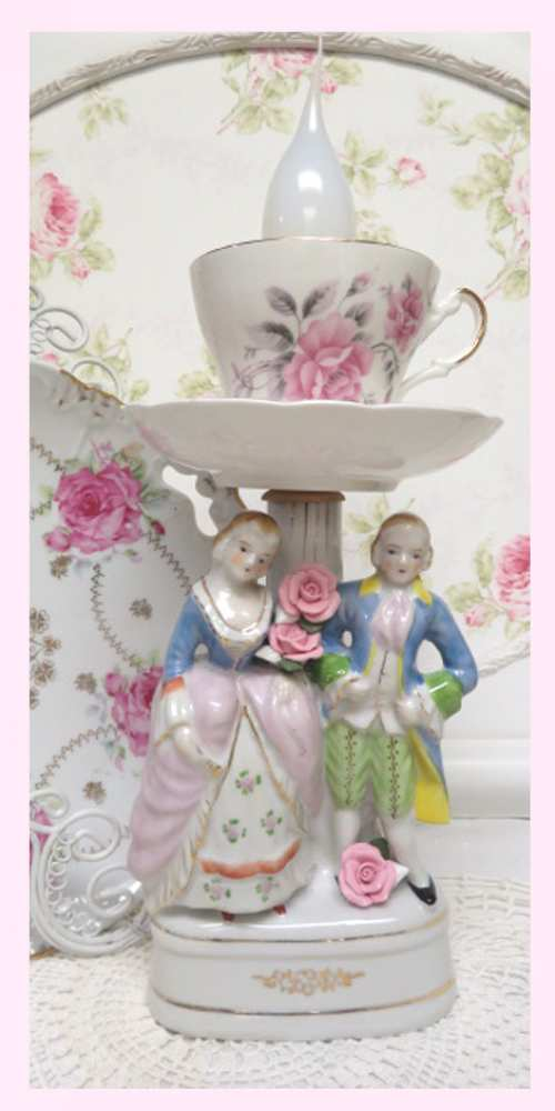 French Couple Lamp VII-French lamp, rose lamp, cup and saucer lamp, rose lamp