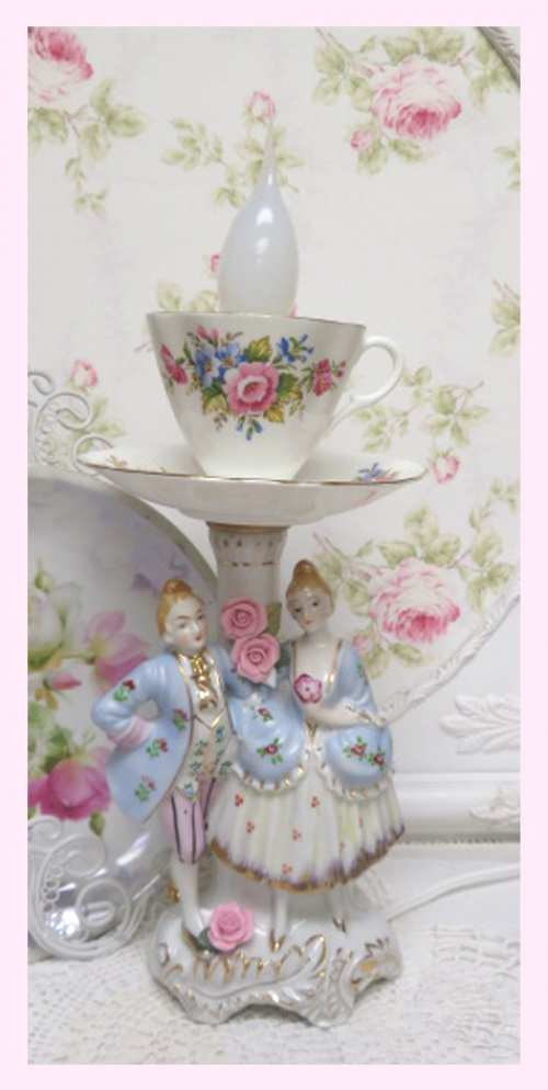 French Couple Lamp V-French couple, rose cup and saucer, cup lamp, couple lamp
