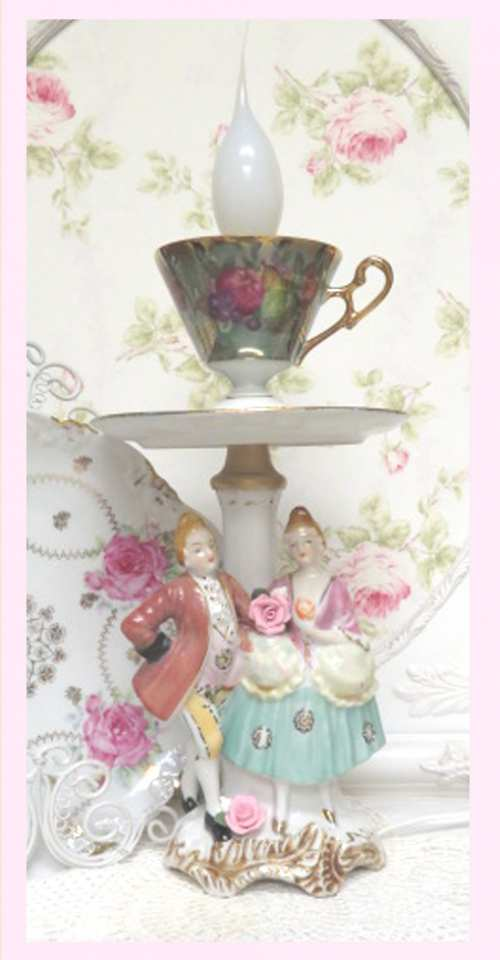 French Couple Lamp X-couple lamp, porcelain couple lamp, cup and saucer lamp