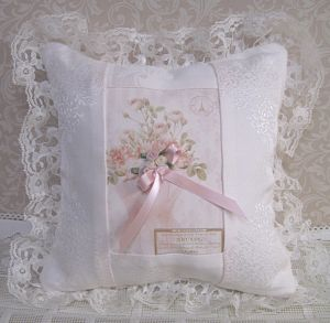 Pink Damask Pillow-French Pillow