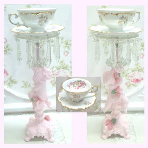 Pink Cherub with Rose Cup N2-candle cup, candle holder, cup and saucer, rose cup and saucer, pink cherub, cherub candle holder