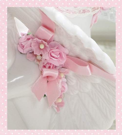 Sitting Cherub Pin Cushion-cherub pin cushion, pink roses cherub, sitting cherub pin cushion, white cherub pin cushions