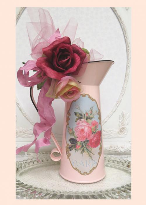 Paris French Pitcher III-pink pitcher, enamel pitcher, rose pitchar