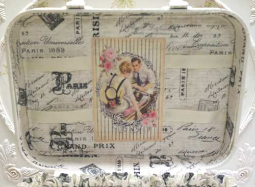 French Post Cards Train Case-French train case, Post card train case, rose train case, white train case