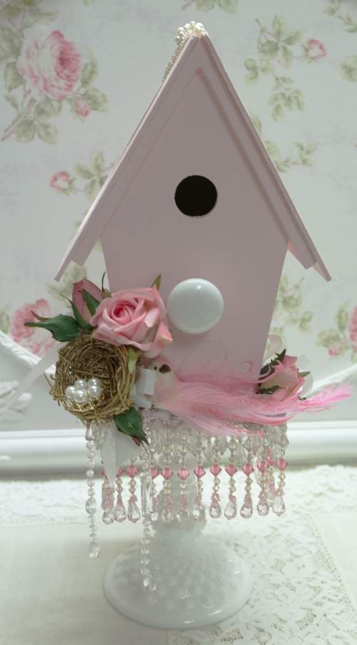 Pink Bird House II-wood bird house, pink rose bird house, pink bird house
