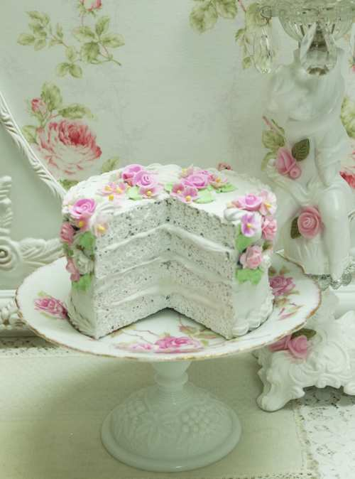 White Faux Layer Cake-white faux layer cake, decorated faux cake, roses faux layer cake