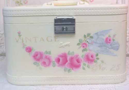 Skyway Train Case-painted train case, rose painted train case, travel train case, pink rose train case, rose train case