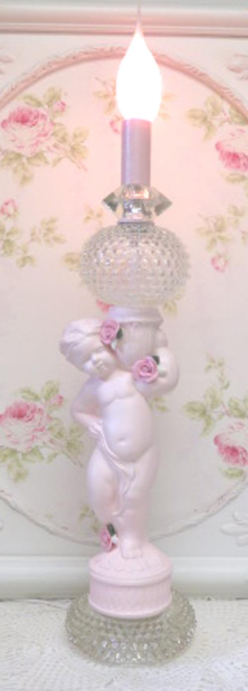 Pink Rose Cherub Light I-pink cherub, cherub, cherub light