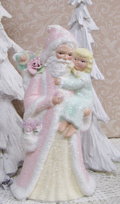 Santa with Little Girl-Pink Santa with girl, Santa with apples,