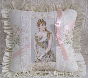 Victorian Woman In Pink and Green-Victorian pillow shabby chic pink pillow
