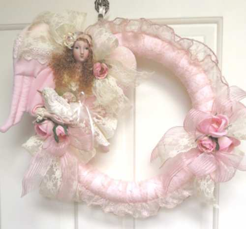 Pink Angel Wreath-angel wreath, wreath, pink wreath, bird wreath
